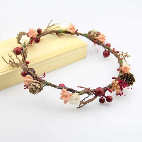 Shades of Berries - Whimsy Berry and Pinecone Flower Crown