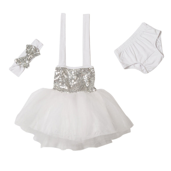 "The ""Gia"" White Silver Birthday Infant Dress + Headband Set - Angora Boutique - 3"