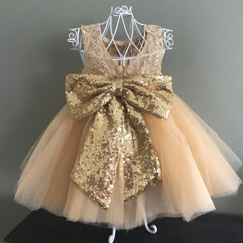 "The ""Lani"" CUSTOM Lace and Sequin Bow Dress - That Girl Couture Collection"