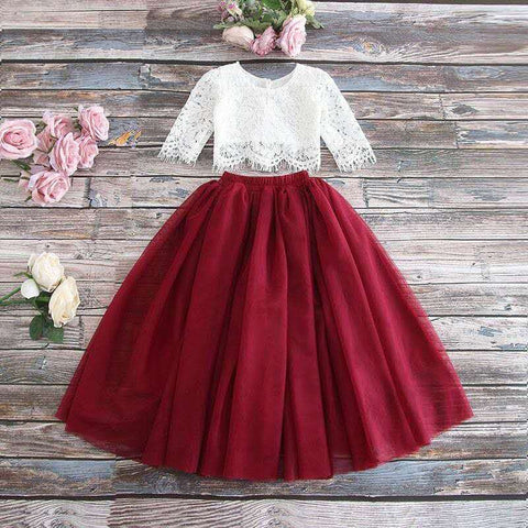 "The ""Sabrina"" Girls Lace Top and Skirt Set - Wine"