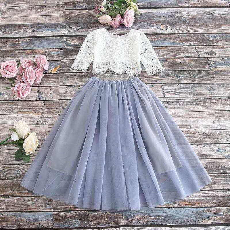 "The ""Sabrina"" Girls Lace Top and Skirt Set - Gray"