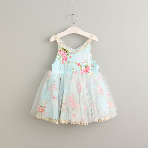 "The ""Miley"" Blue Floral Girls Dress"
