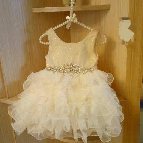 "Vintage Glam - The ""Peyton"" Ivory Sequin Flower Girl Party Dress - Angora Boutique - 1"