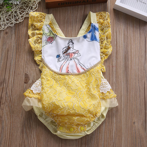 Princess Belle of the Ball Yellow Lace Romper