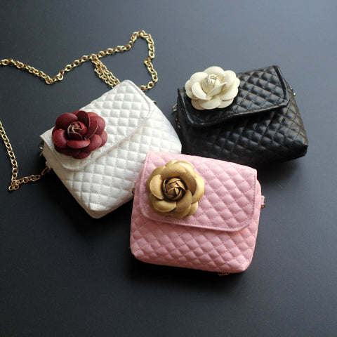 Girls Quilted Rose Shoulder Purse