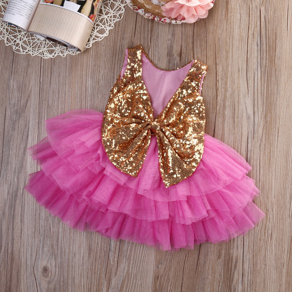 Baby girl pink sequin dress - The Brittany Two Gold Sequin Bow Fuchsia Dress Angora Boutique 1