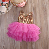 "The ""Brittany Two"" Gold Sequin Bow Fuchsia Dress - Angora Boutique - 2"