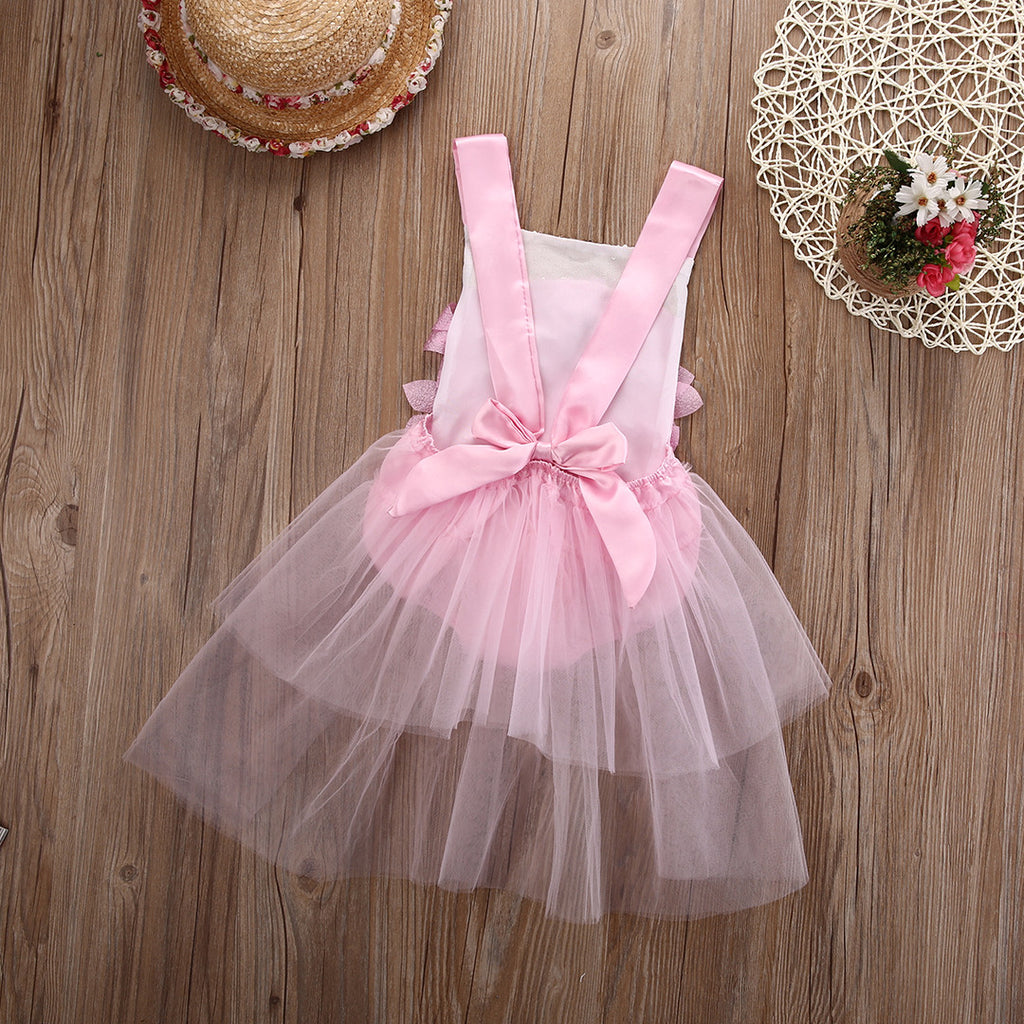 Rosette Pink and Gold Sequin Baby Romper with Tulle Skirt - Angora Boutique - 2