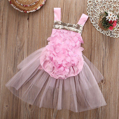 Rosette Pink and Gold Sequin Baby Romper with Tulle Skirt - Angora Boutique - 1