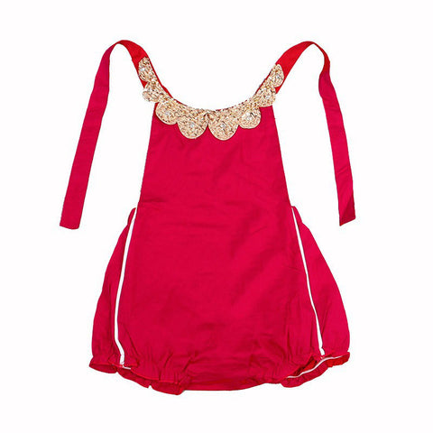 Julia Red and Gold Sequin Collar Baby Romper - Angora Boutique - 1