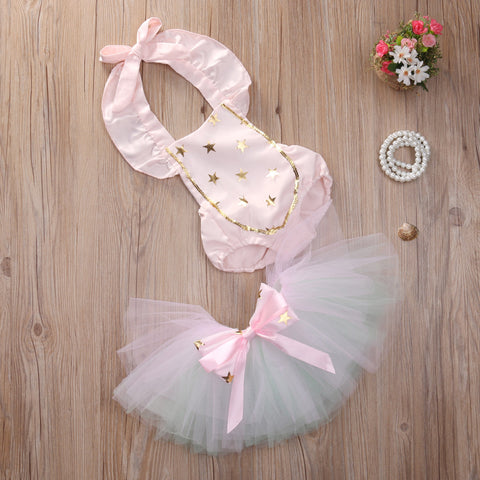 Dreamy Gold Star Baby Romper with Tutu Skirt - Angora Boutique