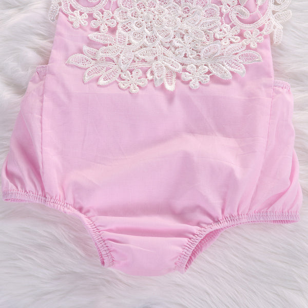 Maribel Pink Lace Baby Romper + Headband - Angora Boutique - 5