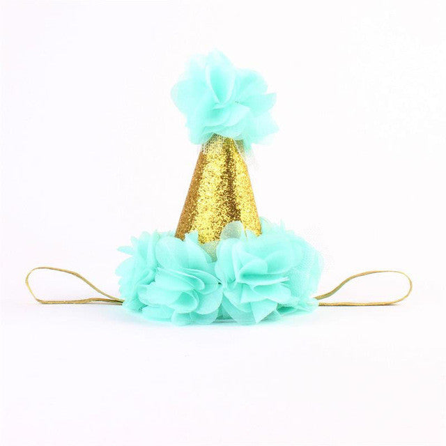 Aqua and Gold Birthday Baby Hat - Angora Boutique