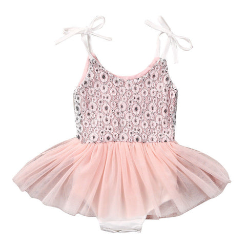 6a59bbd7b65 Natalia Light Pink and Gold Sequin Baby Romper with Tulle Skirt + Headband  2 reviews.   25.00   21.00. The