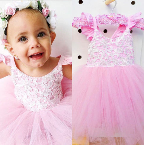 "The ""Giselle"" Lace Pink Tulle Dress"