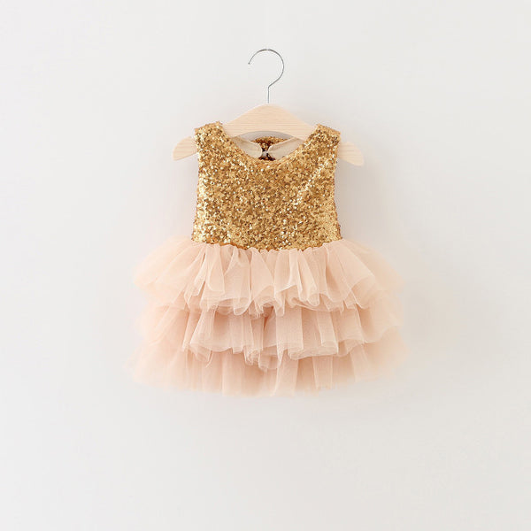 "The ""Gigi"" Shimmer Gold Sequin Bow Baby Toddler Dress - Angora Boutique - 1"