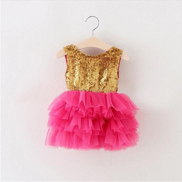 "The ""Gigi"" Shimmer Gold Sequin Bow Baby Toddler Dress - Hot Pink - Angora Boutique - 1"