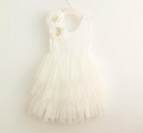 "The ""Stella"" Flower Embellished Layered Dress - White"