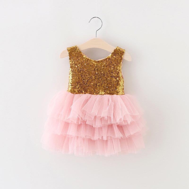 The Gigi Shimmer Pink Gold Sequin Bow Baby Toddler Dress Angora