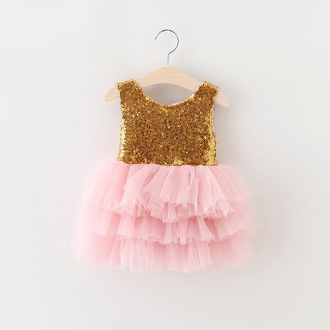 "The ""Gigi"" Shimmer Pink Gold Sequin Bow Baby Toddler Dress - Angora Boutique - 1"