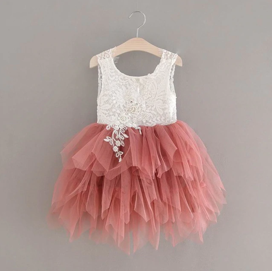 "The ""Stella Mae"" Pearl Embellished Layered Dress - Dusty Rose"