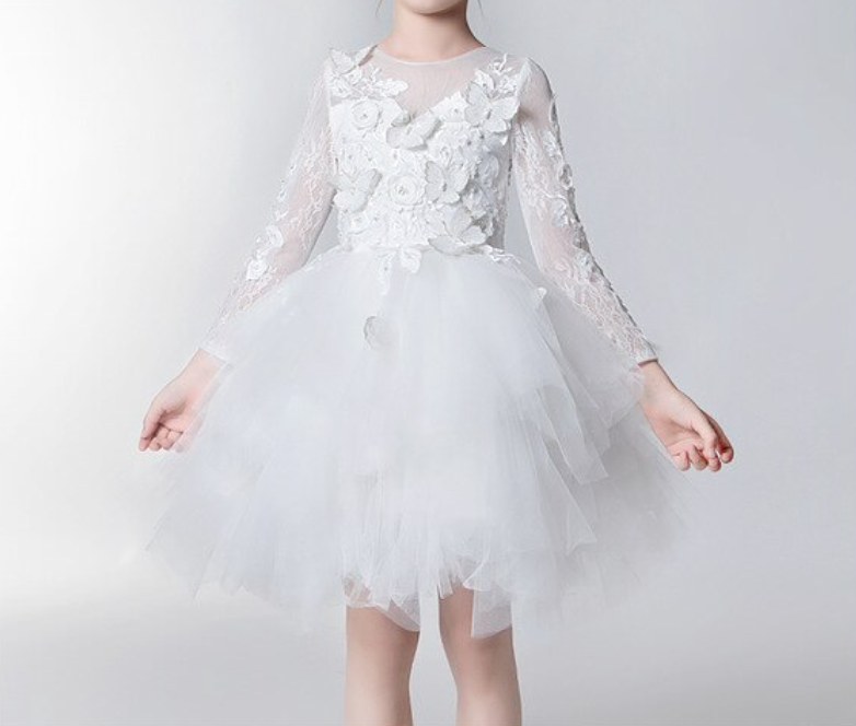 "The ""Anjae"" Girls White Butterfly Tutu Dress"