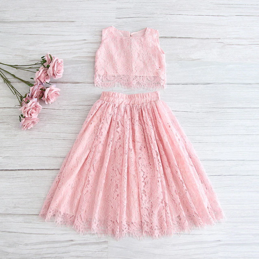 "The ""Katrina"" Lace Top and Skirt Set - Pink"