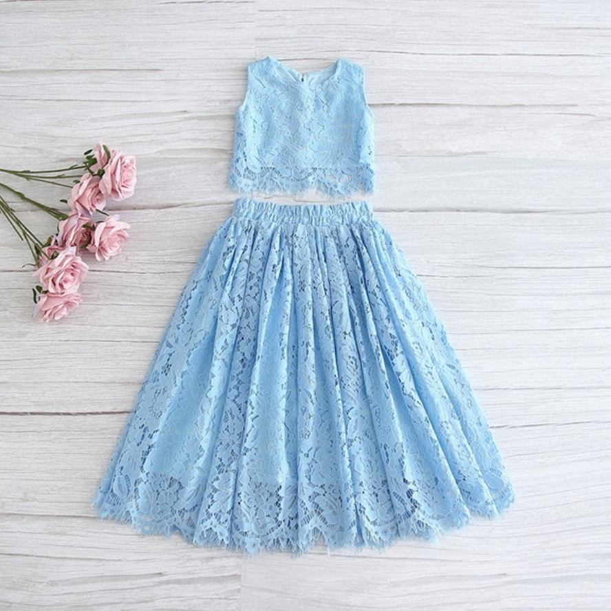 "The ""Katrina"" Lace Top and Skirt Set - Light Blue"