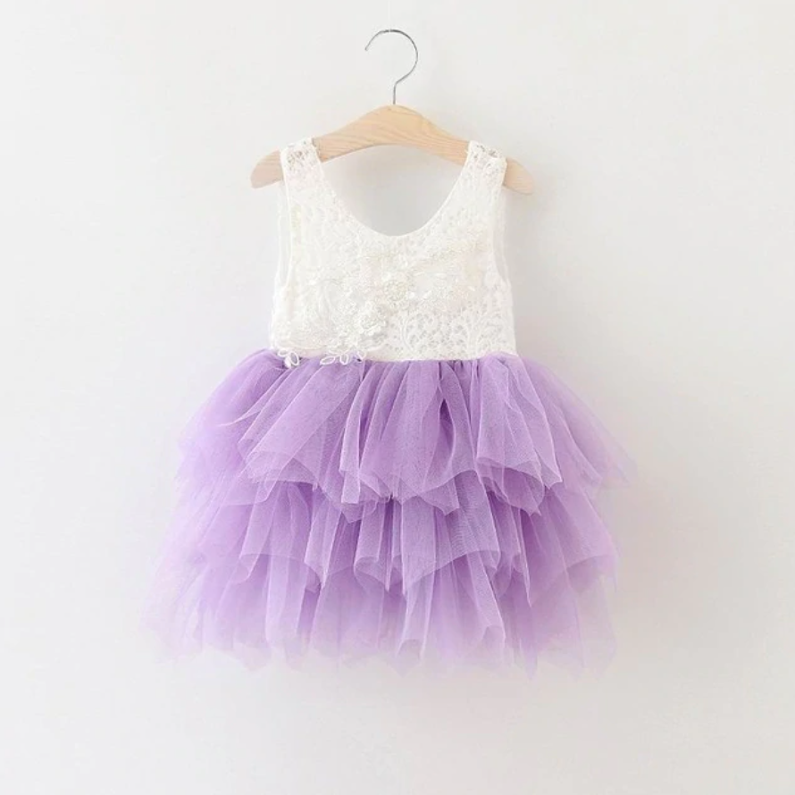 "The ""Stella Mae"" Pearl Embellished Layered Dress - Lavender"