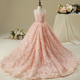 "The ""Blossom"" Pink Hi-lo Rosette Dress with Train"
