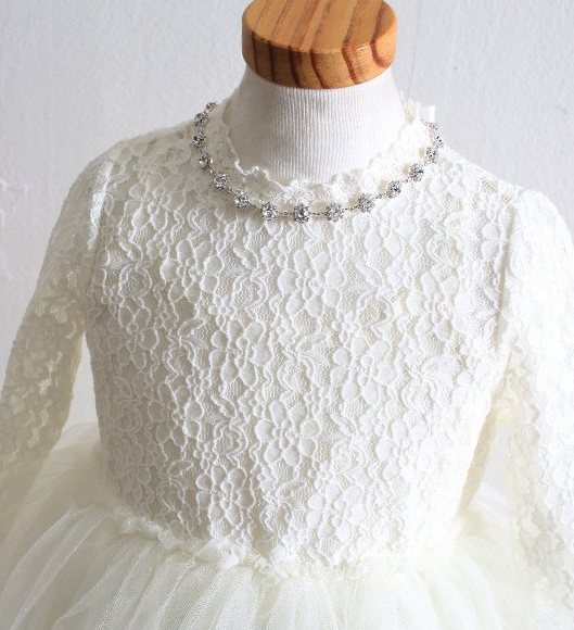"The ""Abbey"" White Princess Lace Dress & Necklace - Tea Length - Angora Boutique - 3"
