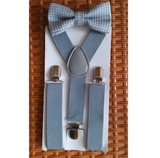 Boys Gray Dot Bowtie and Suspenders Set - Angora Boutique - 3