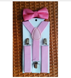 Boys Pink Bowtie and Suspenders Set - Angora Boutique - 2