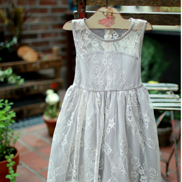 "The ""Genevieve"" Girls Gray Lace Dress - Angora Boutique - 1"