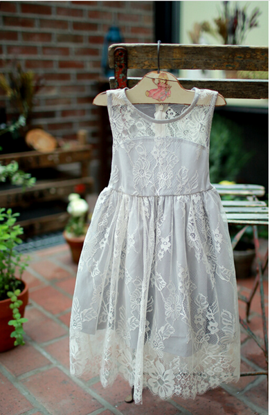 "The ""Genevieve"" Girls Gray Lace Dress - Angora Boutique - 2"