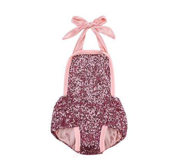 Charlie Glam Pink Sequin Baby Romper - Angora Boutique