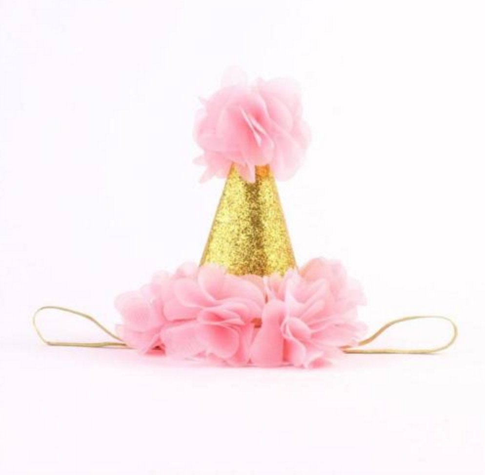 Pink and Gold Birthday Baby Hat - Angora Boutique