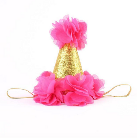 Hot Pink and Gold Birthday Baby Hat - Angora Boutique