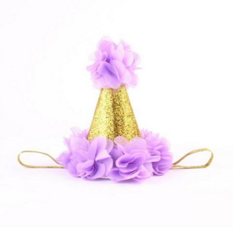 Purple and Gold Birthday Baby Hat - Angora Boutique