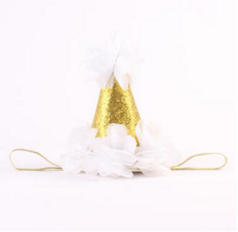 White and Gold Birthday Baby Hat - Angora Boutique