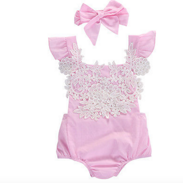 Maribel Pink Lace Baby Romper + Headband - Angora Boutique - 1
