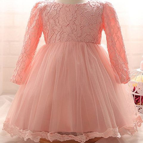 "The ""Reina"" Long Sleeve Pink Lace Dress Flower Girl Dress - Angora Boutique - 1"
