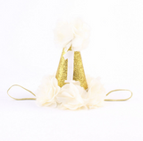 #1 First Birthday Cream and Gold Birthday Baby Hat - Angora Boutique