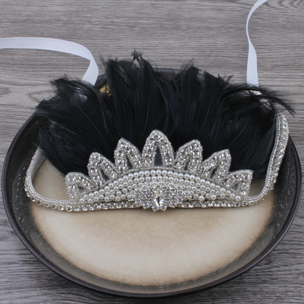 Boho Rhinestone Crystal Feather Headdress - Black - Angora Boutique - 1