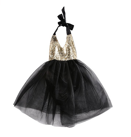 Marissa Black and Gold Sequin Baby Romper with Tulle Skirt