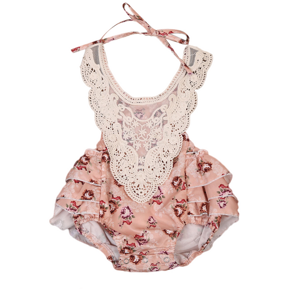 Lindsey Fall Florals & Lace Baby Romper - Orange Autumn