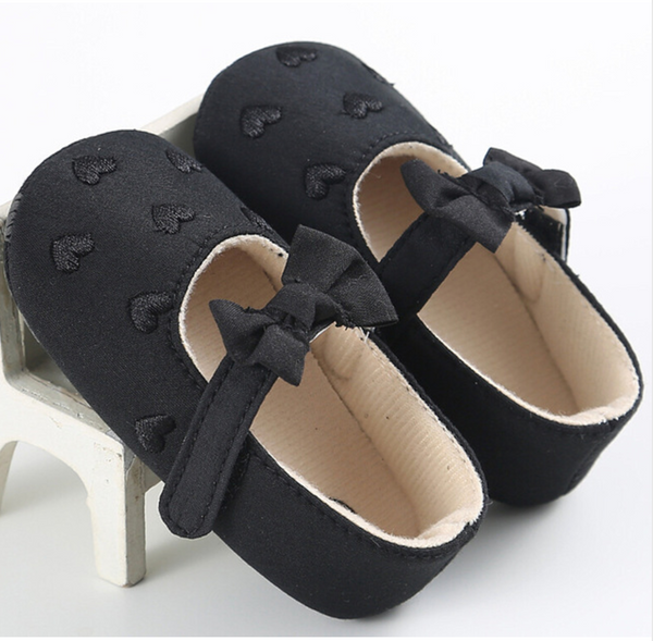 Heart Me Mary Janes Soft Sole Baby Shoes - Black