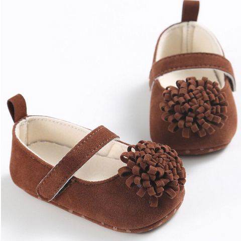 Pom Pom Fashionista Soft Sole Baby Shoes - Brown