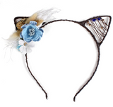Whimsy Floral Kitty Cat Headpiece