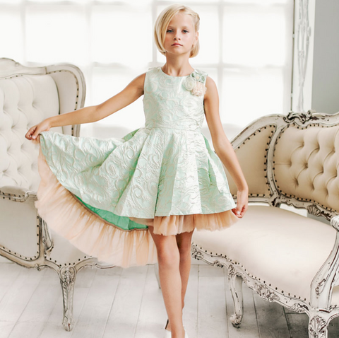 "The ""Elle"" Pretty Mint Jacquard Princess Dress"